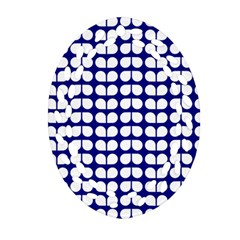 Blue And White Leaf Pattern Ornament (Oval Filigree)