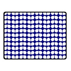 Blue And White Leaf Pattern Double Sided Fleece Blanket (Small)