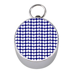 Blue And White Leaf Pattern Mini Silver Compasses