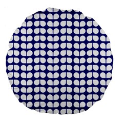 Blue And White Leaf Pattern Large 18  Premium Flano Round Cushions