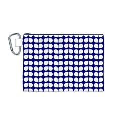 Blue And White Leaf Pattern Canvas Cosmetic Bag (M)