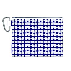 Blue And White Leaf Pattern Canvas Cosmetic Bag (L)