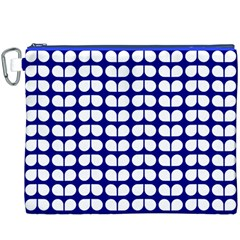 Blue And White Leaf Pattern Canvas Cosmetic Bag (XXXL)