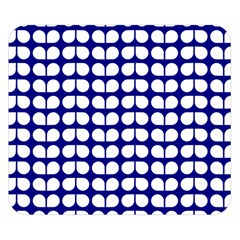 Blue And White Leaf Pattern Double Sided Flano Blanket (Small)
