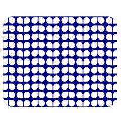 Blue And White Leaf Pattern Double Sided Flano Blanket (Medium)