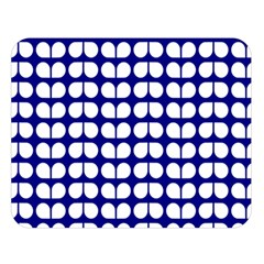 Blue And White Leaf Pattern Double Sided Flano Blanket (Large)