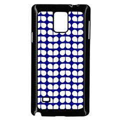 Blue And White Leaf Pattern Samsung Galaxy Note 4 Case (Black)