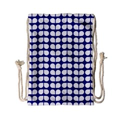 Blue And White Leaf Pattern Drawstring Bag (Small)