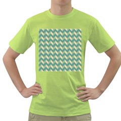 Modern Retro Chevron Patchwork Pattern Green T-Shirt
