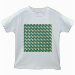 Modern Retro Chevron Patchwork Pattern Kids White T-Shirts