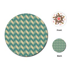 Modern Retro Chevron Patchwork Pattern Playing Cards (Round)