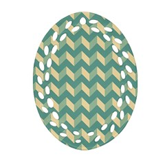 Modern Retro Chevron Patchwork Pattern Oval Filigree Ornament (2-Side)