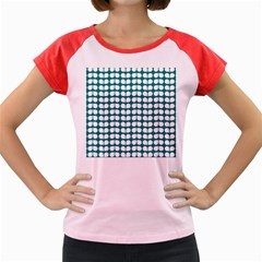 Teal And White Leaf Pattern Women s Cap Sleeve T Shirt