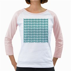 Teal And White Leaf Pattern Girly Raglans