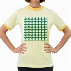 Teal And White Leaf Pattern Women s Fitted Ringer T-Shirts