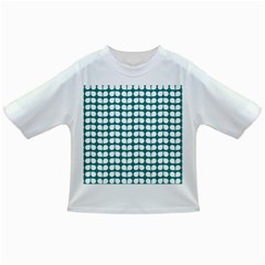 Teal And White Leaf Pattern Infant/Toddler T-Shirts