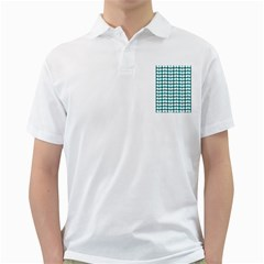 Teal And White Leaf Pattern Golf Shirts