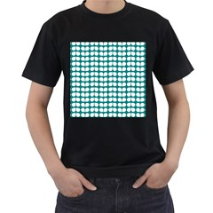Teal And White Leaf Pattern Men s T-Shirt (Black) (Two Sided)