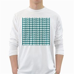 Teal And White Leaf Pattern White Long Sleeve T-Shirts