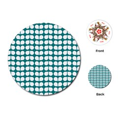 Teal And White Leaf Pattern Playing Cards (Round)