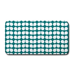 Teal And White Leaf Pattern Medium Bar Mats