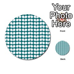 Teal And White Leaf Pattern Multi-purpose Cards (Round)