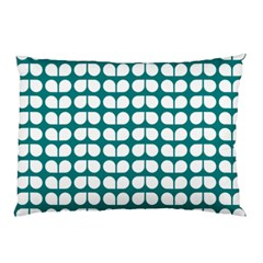 Teal And White Leaf Pattern Pillow Cases