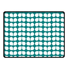 Teal And White Leaf Pattern Fleece Blanket (Small)