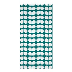 Teal And White Leaf Pattern Shower Curtain 36  X 72  (stall)
