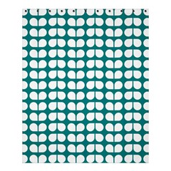 Teal And White Leaf Pattern Shower Curtain 60  x 72  (Medium)