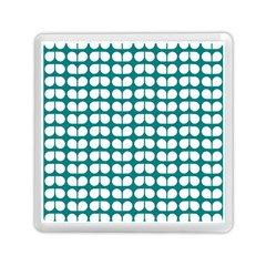 Teal And White Leaf Pattern Memory Card Reader (Square)