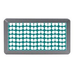 Teal And White Leaf Pattern Memory Card Reader (Mini)