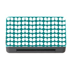 Teal And White Leaf Pattern Memory Card Reader with CF