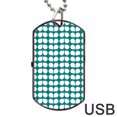 Teal And White Leaf Pattern Dog Tag Usb Flash (one Side)
