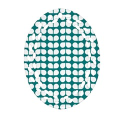 Teal And White Leaf Pattern Ornament (Oval Filigree)