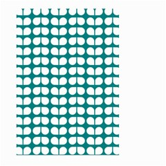 Teal And White Leaf Pattern Large Garden Flag (Two Sides)