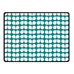 Teal And White Leaf Pattern Double Sided Fleece Blanket (Small)