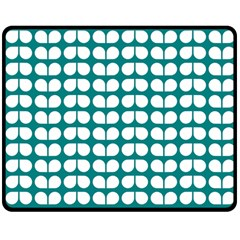 Teal And White Leaf Pattern Double Sided Fleece Blanket (Medium)