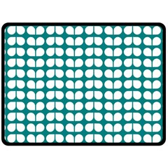 Teal And White Leaf Pattern Double Sided Fleece Blanket (Large)