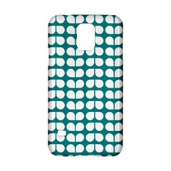 Teal And White Leaf Pattern Samsung Galaxy S5 Hardshell Case