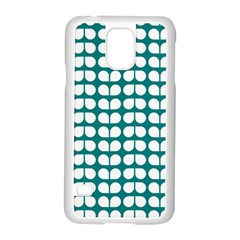 Teal And White Leaf Pattern Samsung Galaxy S5 Case (White)