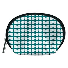 Teal And White Leaf Pattern Accessory Pouches (medium)