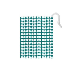Teal And White Leaf Pattern Drawstring Pouches (small)