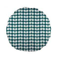 Teal And White Leaf Pattern Standard 15  Premium Flano Round Cushions