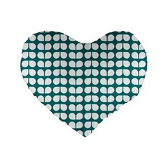 Teal And White Leaf Pattern Standard 16  Premium Flano Heart Shape Cushions