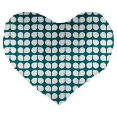 Teal And White Leaf Pattern Large 19  Premium Flano Heart Shape Cushions