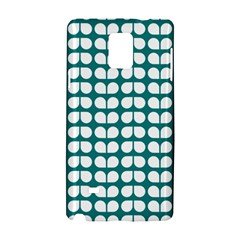 Teal And White Leaf Pattern Samsung Galaxy Note 4 Hardshell Case