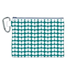 Teal And White Leaf Pattern Canvas Cosmetic Bag (L)