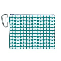 Teal And White Leaf Pattern Canvas Cosmetic Bag (XL)