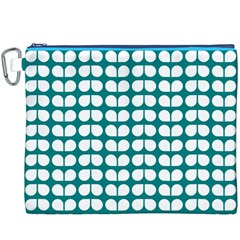 Teal And White Leaf Pattern Canvas Cosmetic Bag (XXXL)
